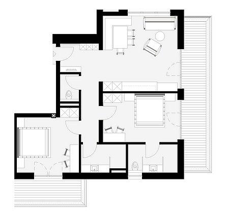 Grundriss Talblick-Apart 23 für 4 – 6 Personen
