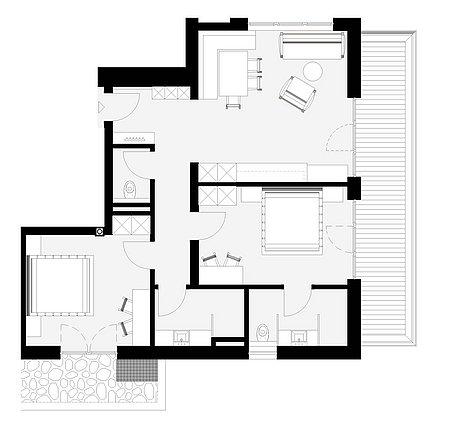 Grundriss Apart 3 für 4 – 6 Personen
