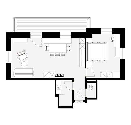 Grundriss Apart 6 für 2 – 4 Personen