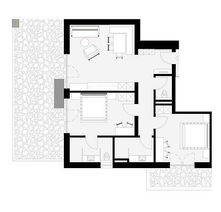 Grundriss Apart 2 für 4 – 6 Personen