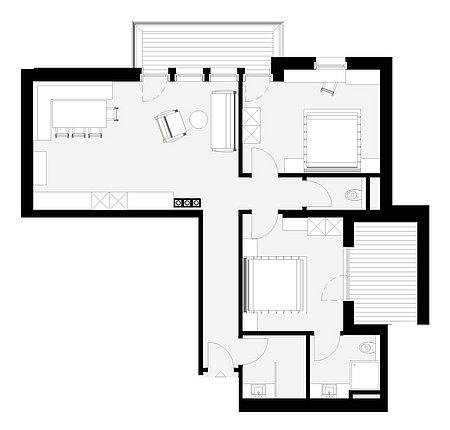 Grundriss Apart 9 für 4 – 6 Personen