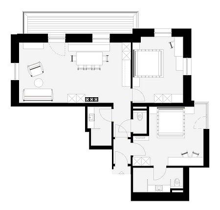 Grundriss Apart 6 für 4 – 6 Personen
