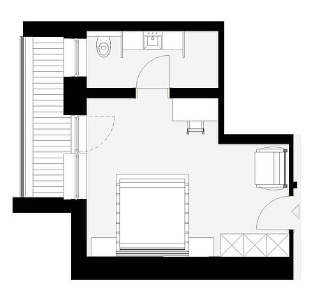 Grundriss Dorfblick-Zimmer 20